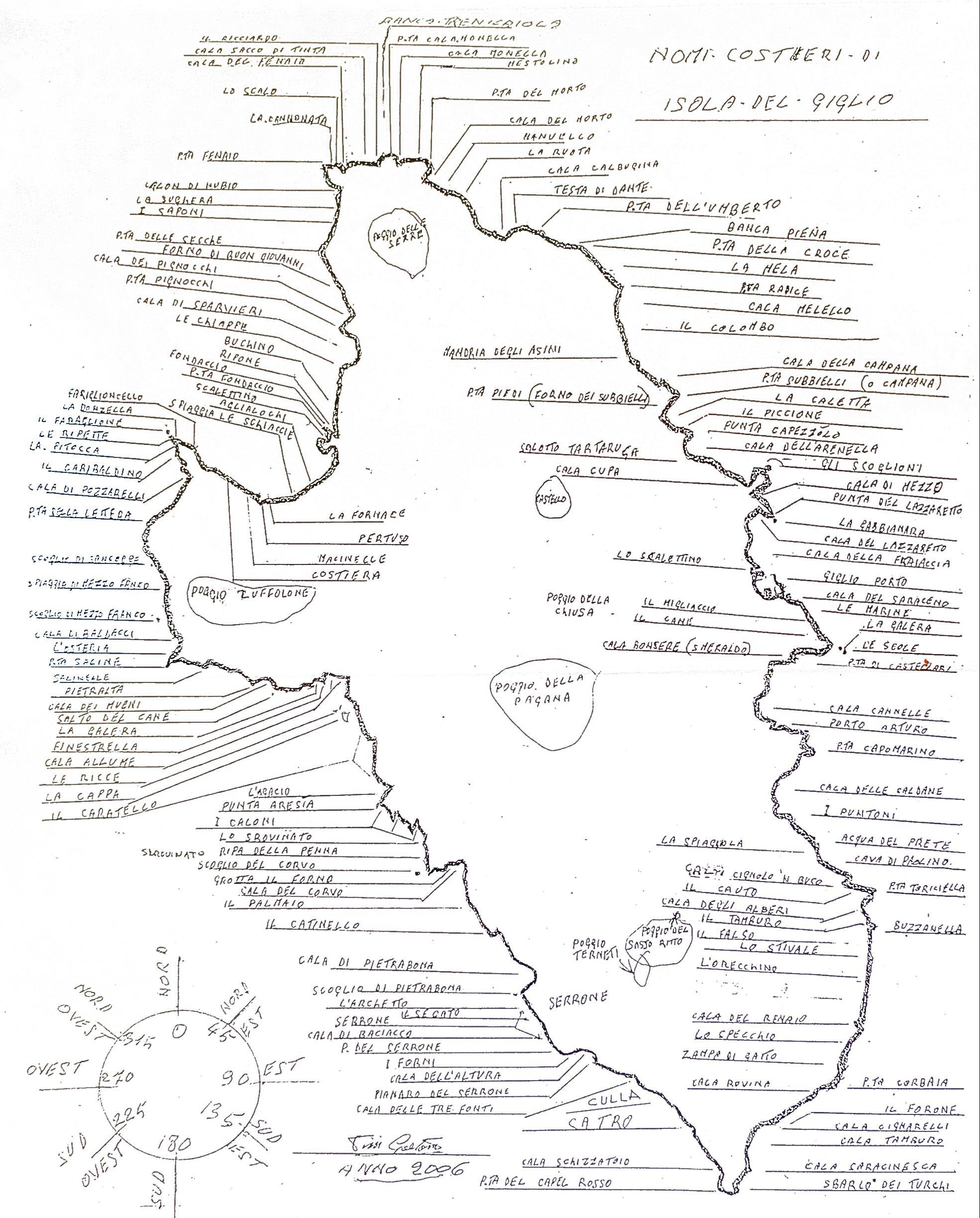 mappa dell'isola del giglio redatta dal pescatore professionista Gaetano Pini